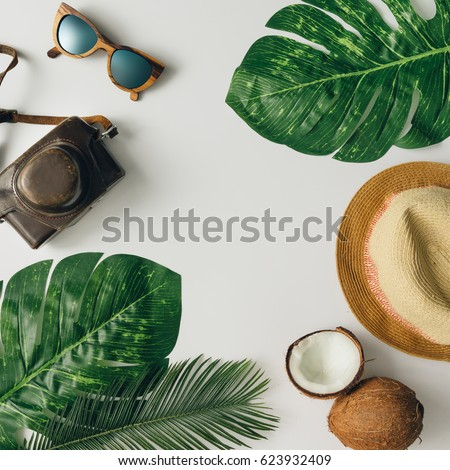 Creative  tropical summer travel layout. Flat lay.  Vacation concept. #623932409