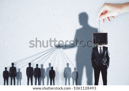 Creative TV manipulation and brainwash background with people and shadows