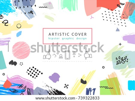 Creative universal floral artistic cover in trendy style. Collage.  Hipster graphic design for Greeting Cards, Wedding, Anniversary, Birthday, Valentin's day, Thank You,  Party invitations, Posters.
