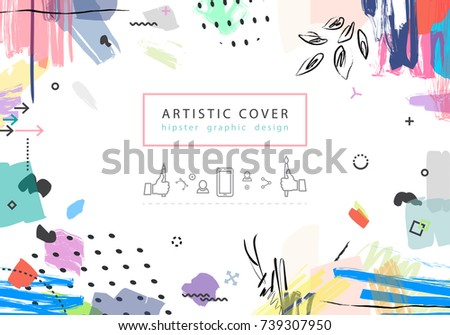 Creative universal floral artistic cover in trendy style with Hand Drawn textures. Collage.  Hipster graphic design for Greeting Cards, Wedding, Anniversary, Birthday, Valentin's day, Thank You. .