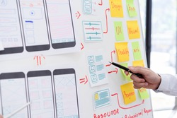 Creative ux ui designers team developing wireframe and sketching layout design mockup on smartphone screen.