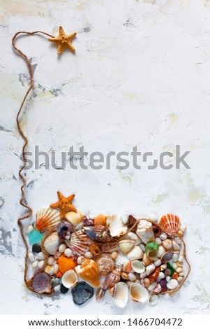 Creative vacation or travel background, dreaming of the sea, ocean. Sea treasures on a light textured background. Exotic flat lay with colored shells, starfish, sea glasses. Copy space. #1466704472