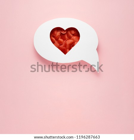 Creative valentines concept photo of comic cloud with hearts on pink background. #1196287663