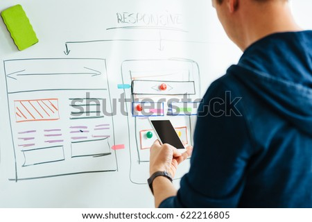 Creative web designer doing usability research for mobile application #622216805