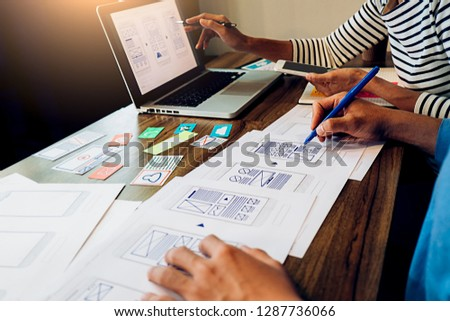 Creative Web Designer planning application and developing template layout, framework for mobile phone. User experience (UX) concept. #1287736066