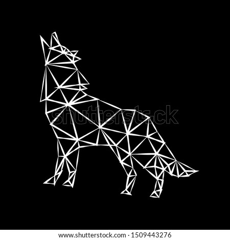 Creative white geometric contour of a predatory howler on a dark background. Minimalism in the style of trigonometry.