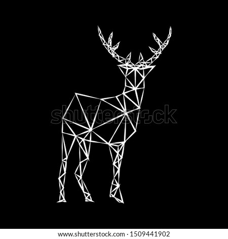 Creative white geometric contour of a wild deer on a dark background. Minimalism in the style of trigonometry.