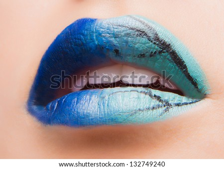 Creative winter make up on lips
