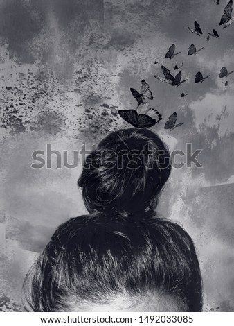 Creative woman - Mental transformation - self knowledge - girl with bun hairstyle