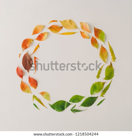Creative wreath of colorful autumn or fall leaves. Flat lay, top view. Changing season concept. Nature composition with paper card note copy space.