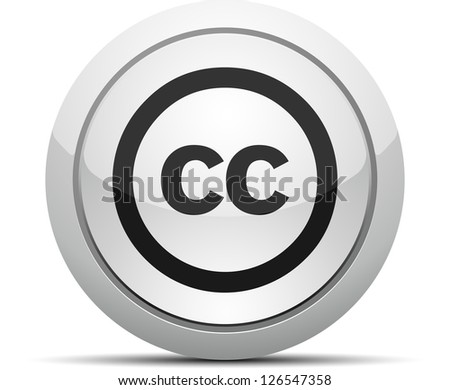 Creativecommons CC button - stock photo