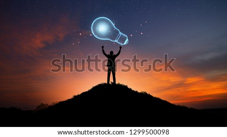 Creativity and innovative are keys to success.Concept of new idea and innovation with Brain and light bulbs. #1299500098