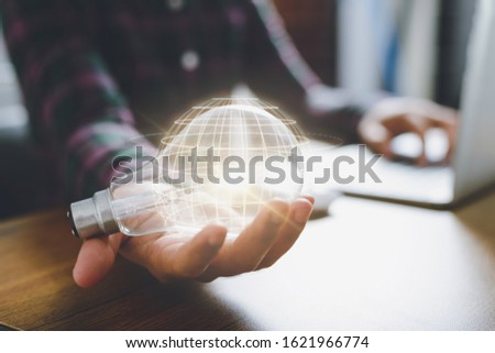 Creativity and innovative are keys to success.Concept of new idea and innovation with Brain and light bulbs.