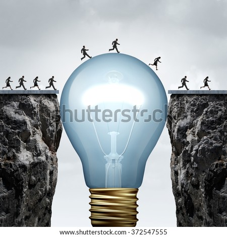 Creativity business idea solution as a group of people on two divided cliffs being connected by a giant light bulb creating a bridge to enable a crossing to success as a creative thinking metaphor. Stock foto ©