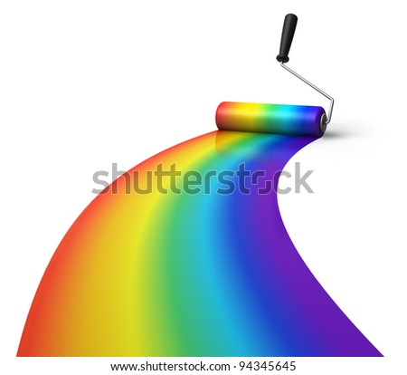 Creativity concept: rainbow coloring with roller brush isolated on white background
