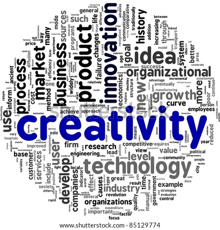 Creativity concept related words in tag cloud