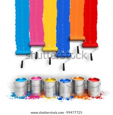 Creativity concept: set of color roller brushes with trails of paint on the wall and metal cans with oil paint isolated on white background