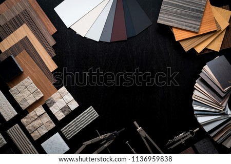 creativity house design ideas concept with sample of material venner wood stone sample on black wood floor