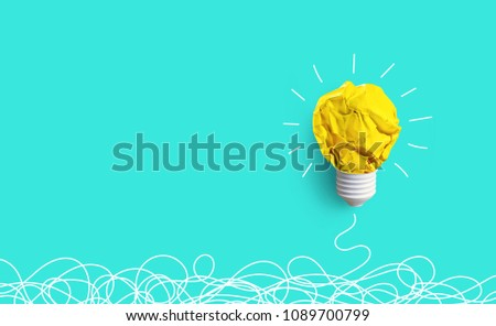 Creativity inspiration,ideas concepts with lightbulb from paper crumpled ball on pastel color background.Flat lay design. #1089700799