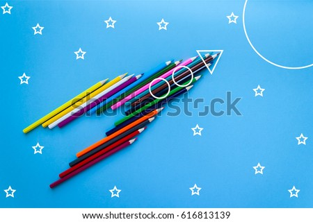 Creativity learning. Rocket ship launch made with pencils. Start up #616813139