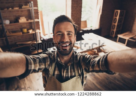 Photo of Creativity lifestyle leisure people person craftsmanship free time rest relax pause concept. Close up photo portrait of satisfied cute handsome glad workman take make self picture modern workstation