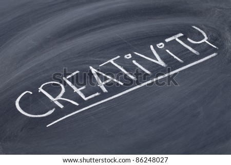 creativity word in white chalk handwriting on blackboard