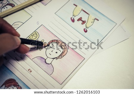Creator  Storyboard or storytelling drawing creative for movie process pre-production media films script for video editors, development cartoon illustration animation for production shooting