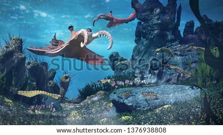 creatures of the Cambrian period, underwater scene with Anomalocaris, Opabinia, Hallucigenia, Pirania and Dinomischus (3d science illustration)