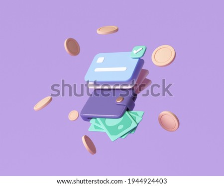 Credit card and banknotes, floating coins around on purple background. money-saving, cashless society concept. 3d render illustration