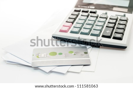 Credit card and Calculator on white Envelope isolate white background