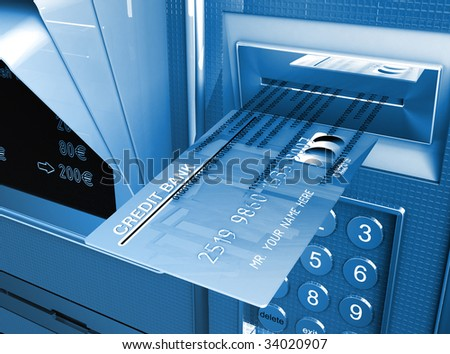 credit card and cash machine, metaphor of e-commerce