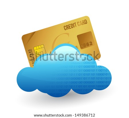 credit card and cloud. illustration design over white