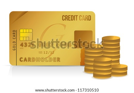 credit card and coins illustration design over white