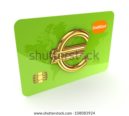 Credit card and euro sign.Isolated on white background.3d rendered.