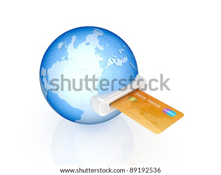Credit card and globe.Isolated on white background.3d rendered.