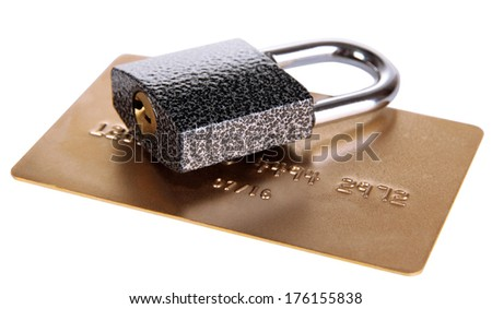 Credit card and lock isolated on white