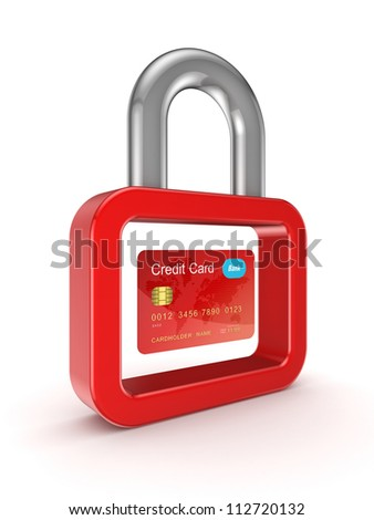 Credit card and lock symbol.Isolated on white background.3d rendered.