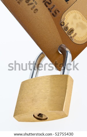 Credit Card and lock. Symbol of security monetary system.
