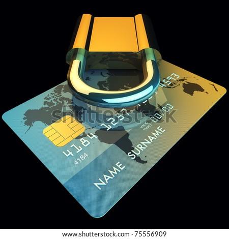 Credit card and padlock , safe banking ,3d illustration