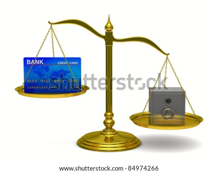 credit card and safe on scales. Isolated 3D image