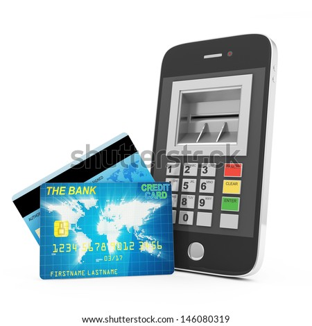 Credit Card and Smart Phone isolated on white background. Mobile Banking Concept