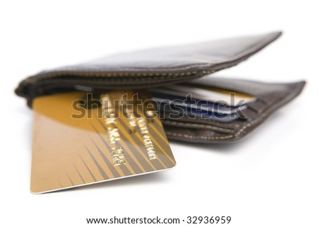 Credit card and wallet on white background - stock photo