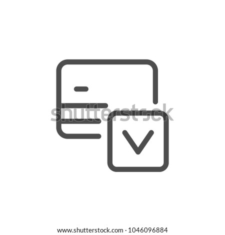 Credit card approval line icon isolated on white