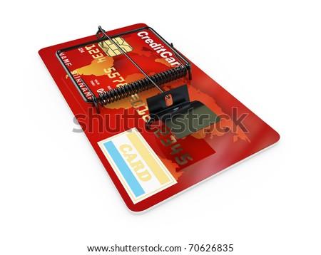 Credit card as mousetrap. Conceptual image. 3d - stock photo