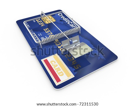 Credit card as mousetrap. Conceptual image. 3d