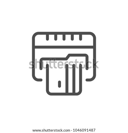 Credit card ATM line icon isolated on white