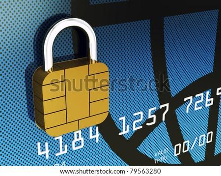 Credit card chip as padlock , 3d illustration
