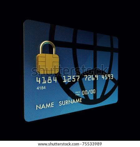 Credit card chip as padlock ,safe banking , 3d illustration