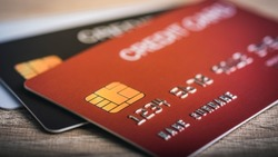 Credit card close up macro shot and selective focus for background.