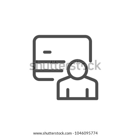 Credit card holder line icon isolated on white